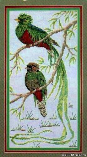 Схема для вышивки крестом Зеленые птички