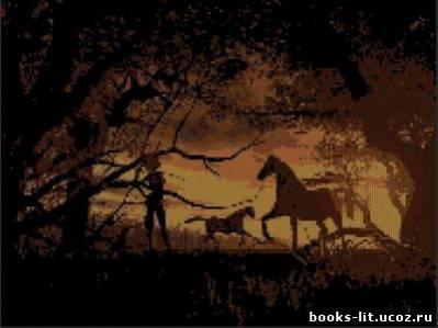 Схема для вышивки крестом Лошади на закате