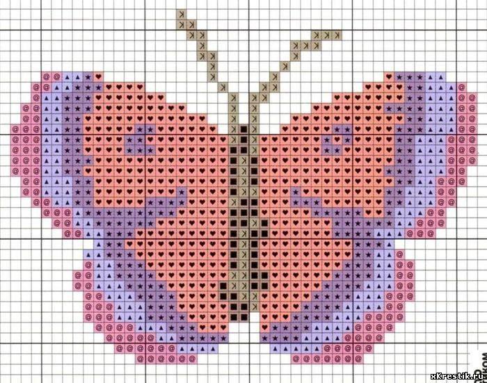 Рисунок бабочка для вышивки крестиком