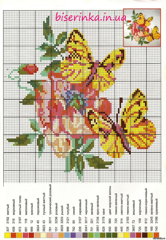 схемы к вышивке котенок с бабочкой