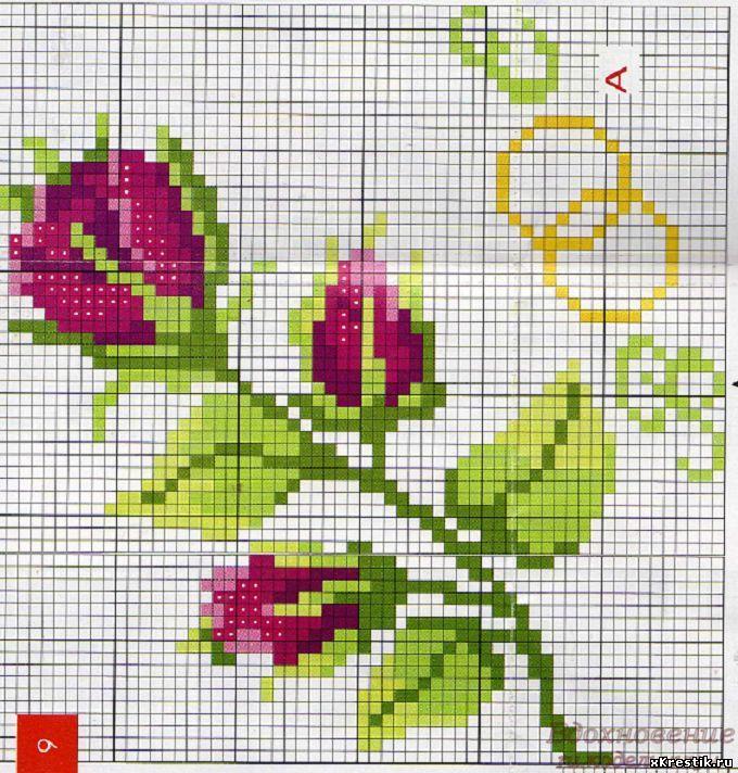 Вышивка крестом схемы для начинающих тюльпаны 242
