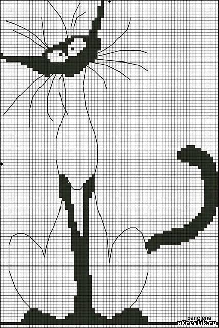 Черно белые схемы кошки вышивка крестом