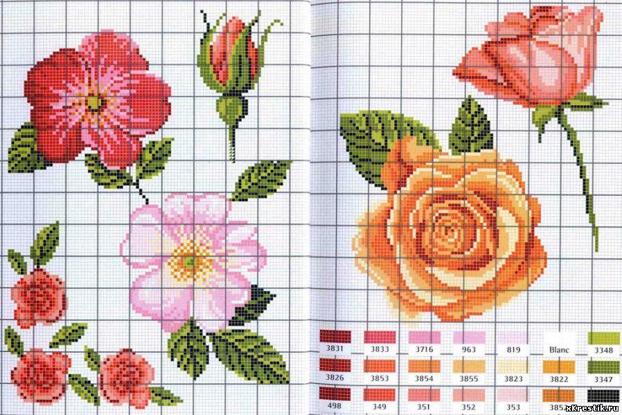 Вышивка крестиком роза маленькая 75