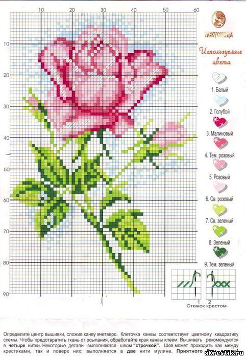 Схема простая роза вышивка крестом