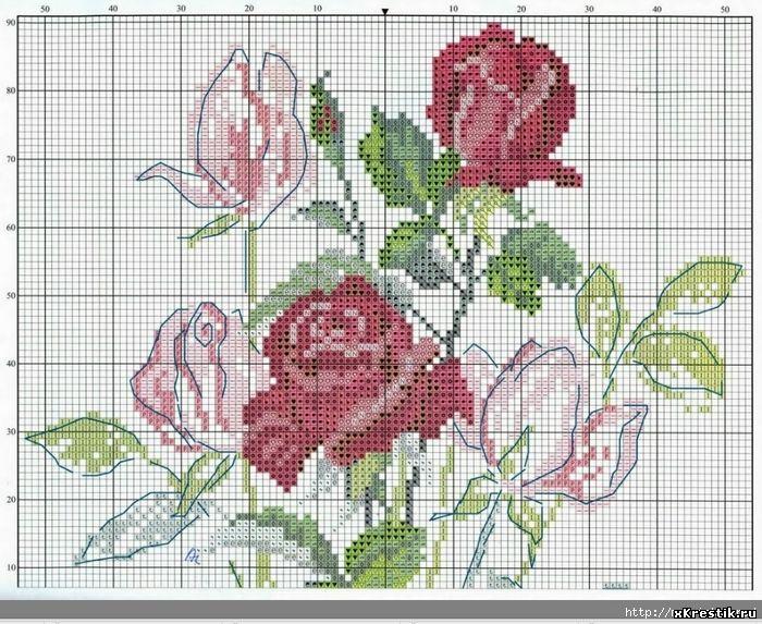 Схема для вышивки крестом миниатюра цветы