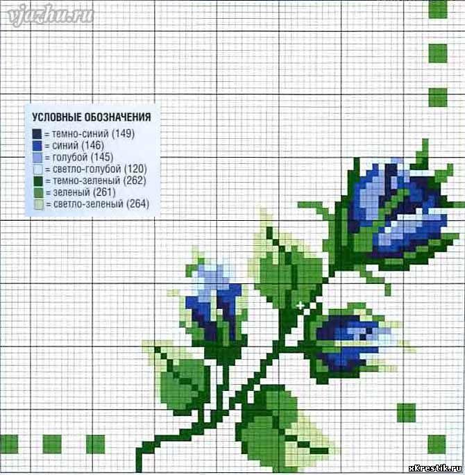 Вышивка крестом цветы синие 7