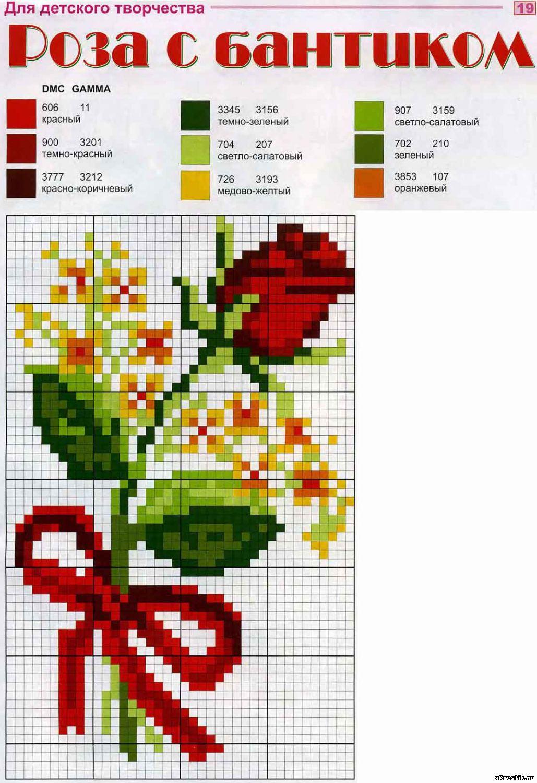 Схема для вышивания крестиком для начинающих цветок